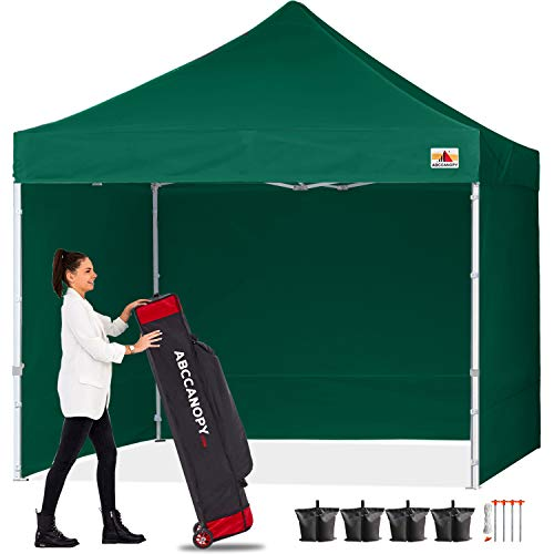 ABCCANOPY Canopy 10x10 Pop Up Commercial Canopy Tent with Side Walls Instant Shade, Bonus Upgrade Roller Bag, 4 Weight Bags, Stakes and Ropes, Forest Green