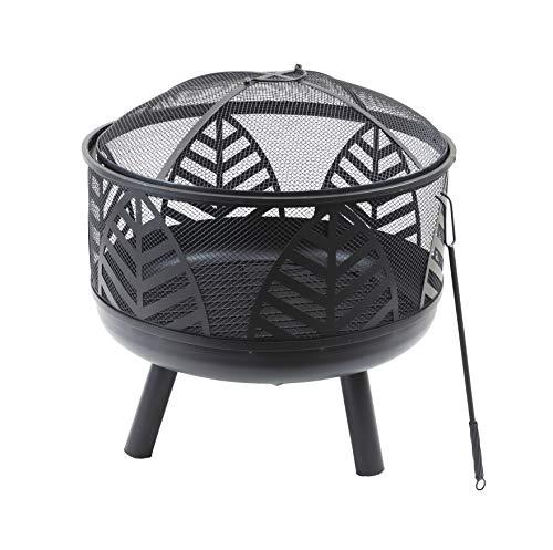 HP&G home, pets & garden Feuerschale mit abnehmbarem Schutzgitter, ca. 60cm Durchmesser & 68cm hoch, mit Schürhaken, ideal für Garten & Terrasse, Gartendeko