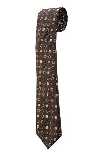 Oh La Belle Cravate Cravate fine slim rayure marron beige carreau DESIGN dandy RTS