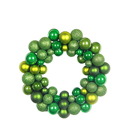 GLITZFAS Weihnachtskranz, Kugelkranz Türkranz aus 55 Weihnachtskugeln Weihnachtsdeko Deko-Kranz Weihnachten Thema (Grün)