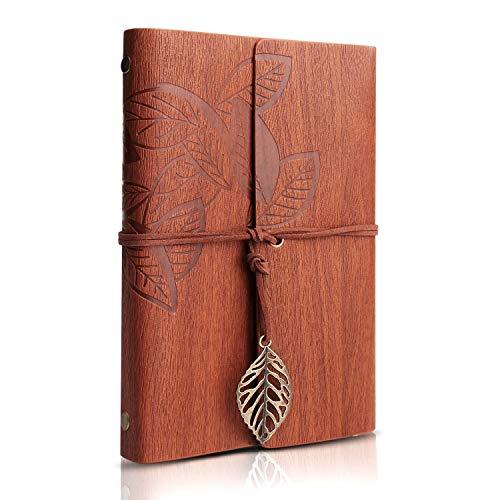 Taccuino vintage, Naiocase diario di viaggio foglie misteriosi taccuino viaggio jotter quaderno in pelle per compleanno laurea nozze anniversario - brown