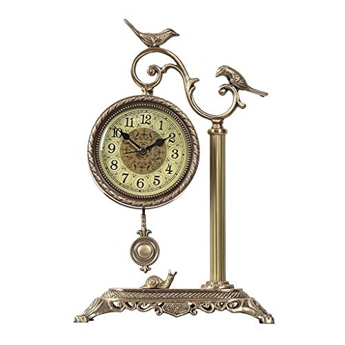 Tingting1992 Alarm Clock Clock Pure Copper Silent Table Clock Home Living Room Bedroom Office Decoration Desktop Decoration Table Clock Desk Clock (Size : T-L)