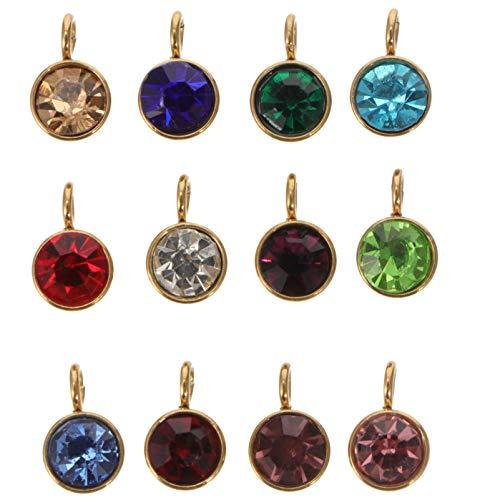 ABOOFAN 12 Piezas de Piedras Preciosas de Cristal DIY 12 Colores Piedras Preciosas Colgantes con Anillos para Joyería Collar Pulsera Pendientes Suministros para Hacer