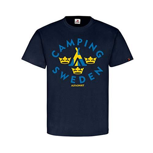 Copytec Camping Sweden Tent Fan Zweden Vaandel vakantie drie kronen Tshirt #31896