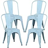 Yaheetech 18 Inch Classic Iron Metal Dinning Chair Indoor-Outdoor Use Chic Dining Bistro Cafe Side Barstool Bar Chair Coffee Chair Dream Blue Set of 4