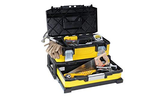 Stanley 1-95-829 Gereedschapskist (20 inch, 54,5 x 28 x 33,5 cm, box van metaal kunststof met geïntegreerde lade, ruime koffer voor elektrisch gereedschap en accessoires)