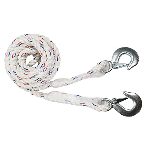 KJE Recovery Tow Safety Rope 4500 lb Break Strength with 2 Safety Steel Forged Hooks 14 Ft x 0.55 in