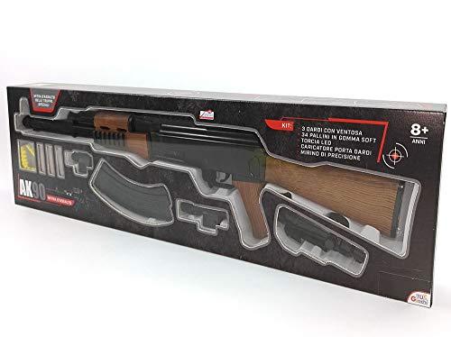 AK90 Mitra Mitragliatrice d'assalto fucile giocattolo con DARDI e PALLINI da 6mm per bambini con torcia led e mirino h.22x76x7 cm
