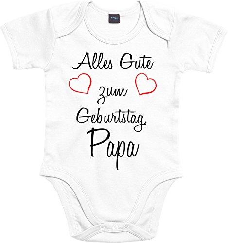 Mister Merchandise Baby Body Alles gute zum Geburtstag, Papa Strampler liebevoll bedruckt Glückwunsch Weiß, 0-3