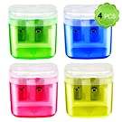 Pencil Sharpener, MENOLY 4 Pack Double Hole Pencil Sharpener Small Pencil Sharpener Manual Hand Pencil Sharpeners with Lid for School Office Home (Pink Yellow Green Blue)