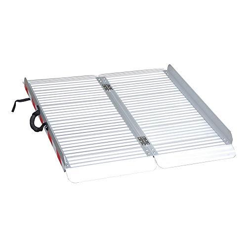 LIEKUMM Rampa portatile per sedia a rotelle, ampia rampa pieghevole in alluminio per scale, soglia della porta, ecc., superficie antiscivolo, capacità di carico 400 kg (MR607X-3) (90 x 85 x 7 cm)
