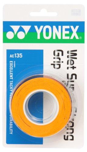 ヨネックス(YONEX) テニス バドミントン グリップテープ ウェットスーパーストロンググリップ (3本入り) AC135 ブライトオレンジ