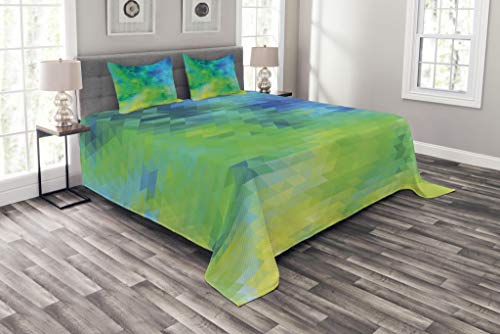 Lunarable Green and Blue Bedspread, Geometric Abstract Pattern with Triangles Ombre Inspired, Decorative Quilted 3 Piece Coverlet Set with 2 Pillow Shams, Queen Size, Turquoise Lime Green Yellow