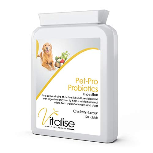 Vitalise Dog & Cat pet Probiotics Digestive Support Supplement - Chicken Flavour - 120 tablets