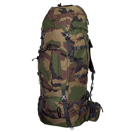Tashev Outdoors Mount Sac à Dos de Trekking, pour la randonnée, Backpacker pour Femme et Homme de 100l Extensible Jusqu' à 120l avec Housse de Pluie (Fabriqué en UE) (Camouflage)