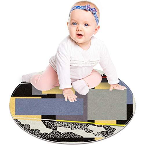 MUOOUM Symmetrischer Würfel-Teppich, rund, waschbar, weich, saugfähig, für Wohnzimmer, Küche, Badeteppich