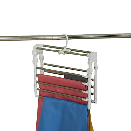 Kleding Broek Hangers, RVS Ruimtebesparende Vouwen Broek Hanger Georganiseerd, 360 ° Roterende Meerdere Lagen Anti-slip Closet Opslag Organizer voor Broek, Sjaal, Broek