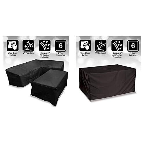 Bosmere Protector 6000 Modular L Shape Dining Set Cover, Left Side Long, Large - Black, M663 & Protector 6000 Storm Black 6 Seat Rectangular Table Cover - Black, D555