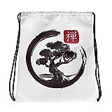 bonsai Tree Enso Drawstring bag, Workout YOGA Backpacks with Drawstrings, Japanese Zen Symbol Drawstring Gift Bags