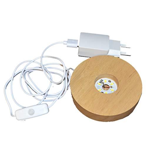 LED Leucht Sockel, warmes Licht | Holz Sockel mit 6 LED`s | zum beleuchten ihrer Dekoartikel, Edelstein Objekte | USB Stecker und mit Netzteil für die Steckdose