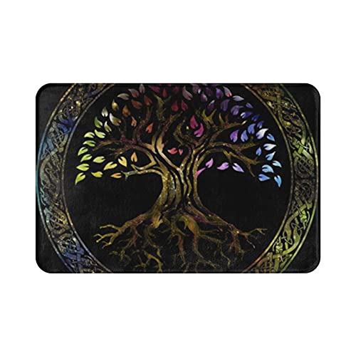 Entrance Door Mat 15.7' X 23.5' Inches Outdoor Or Indoor-Colorful Celtic Glowing Tree of Life Knot Irish Gaelic