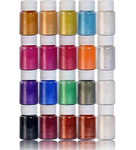 DEWEL Pigmenti per Slime,Mica Polvere - Perlato,10 g,20 Colori