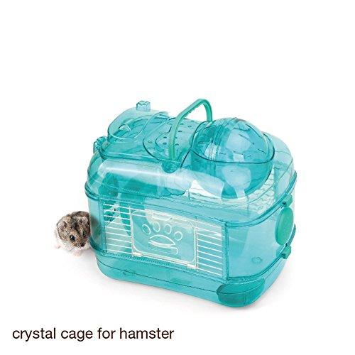 Pet Online Hamster deportes jaula doble cristal de hámsteres jaula caja transparente, verde