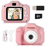ZStarlite Cámara Digital para Niños, 1080P 2.0' HD Selfie Video Cámara Infantil, Regalos Ideales para Niños Niñas de 3-10 Años, con Tarjeta TF 32 GB, Lector de Tarjetas (Rosa)