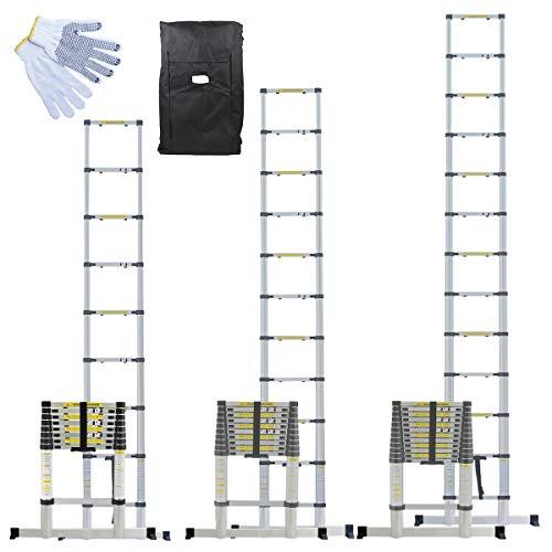 Linxor ® Escalera telescópica Pro 2m60, 3,20m o 3,80m de aluminio + estuche de transporte y guantes de manteniendo - Norma EN131
