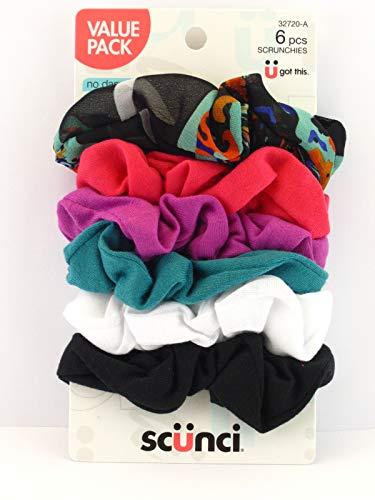 Scunci Value Pack No Damage Scrunchies - 6 Pcs, Assorted Colors