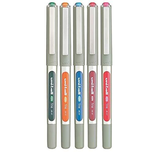 Uni-Ball UB - 157-Stylo roller à encre Eye Lot de 5 stylos couleurs (vert clair, Bleu, Orange, Rose, Rouge Bordeaux) sous Blister