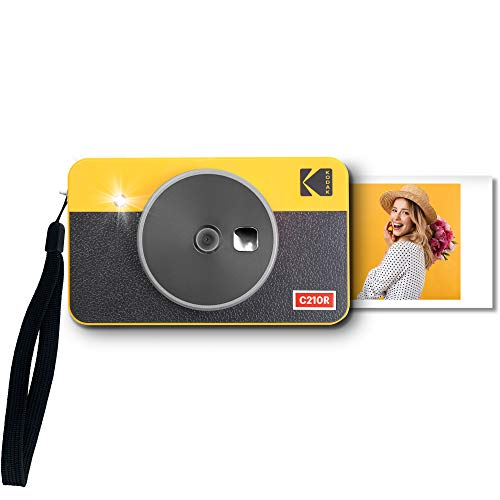 Kodak Mini Shot 2 Retro Cámara instantánea e Impresora fotográfica portátil, iOS y Android, tecnología 4Pass (54 x 86 mm) – Amarillo – 8 Hojas