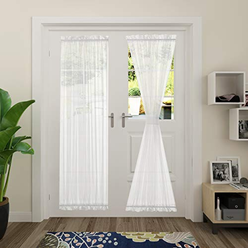Aquazolax White Sheer Door Window Curtain Semi Sheer French Door Panel Curtains Front Porch Voile Drapery with Tieback for Patio Door/Living Room, 1 Piece, W52 x L72 inches, White