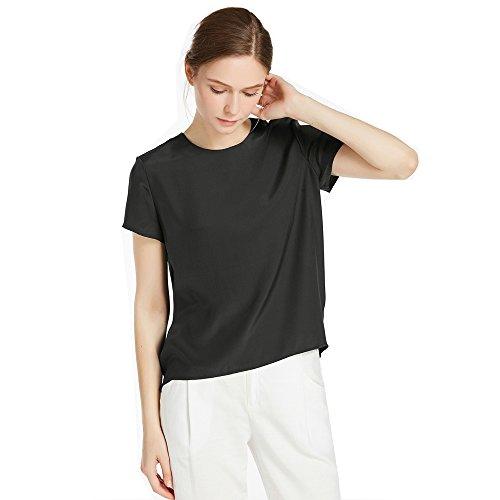 LilySilk Seide Damen Hemdbluse Kurzarm Bluse Hemd Tunika 22 Momme (XL, Schwarz) Verpackung MEHRWEG