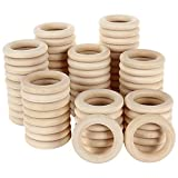 ZIQI 100Pcs Wooden Rings, Natural Unfinished Solid Wood Rings Smooth Wood Circles for DIY Craft, Ring Pendant Connectors, Jewelry Making and Macrame Decor (2.2'/55mm)