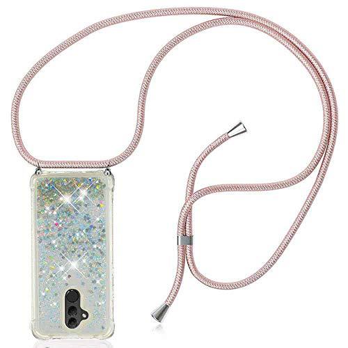 XCYYOO Funda Bling Glitter Liquida con Cordón para Huawei Mate 20 Lite【Versión Popular 2021】 Brillante Transparente Carcasa de movil con Cuerda para Colgar en Silicona TPU - Case y Correa