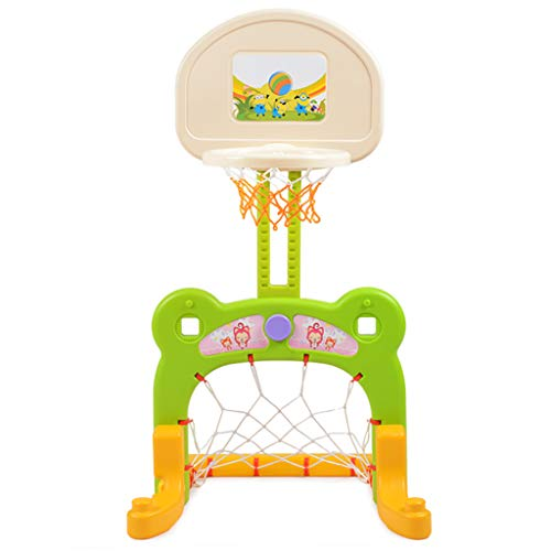 Kinder Basketball Steht Abhebbarer Haus Innen Fußballtor Baby-Indoor-Fußball-Rack Basketballkorb geeignet for 1-6 Jahre alt Senden Basketball/Fußball (Color : PINK, Size : 58 * 100CM/23 * 39INCH)