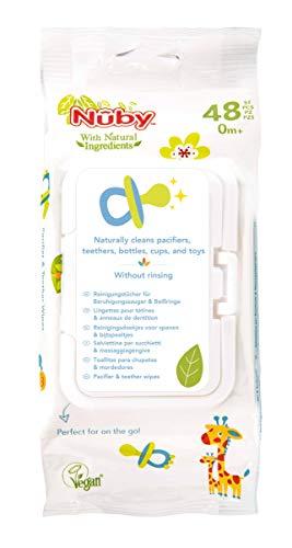 Nuby - Toallitas de limpieza Nuby para chupetes y juguetes, 1 pack de 48 piezas