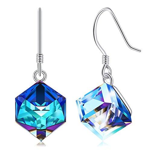 CAT EYE JEWELS S925 Sterling Silver Swarovski Elements Crystals Earrings Color Changing Hook Dangle Drop Earrings for Women Girls Blue E002-SWD-B