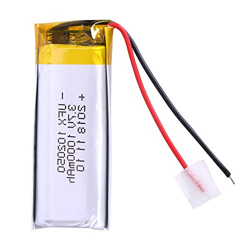 WOVELOT 1000Mah Batería de Polímero de Iones de Litio 3.7 V 102050 para Mp3 Mp4 Mp5 GPS Ktv Batería Domésti Amplificador Audio Computadora Micrófono