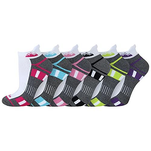 6 Pairs Ladies Prohike Cushioned Trainer Socks White Grey Multi Size 4 8