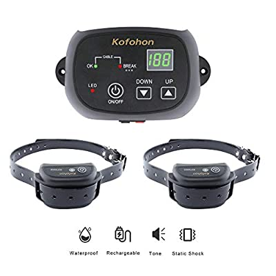 KOFOHON Electric Dog Fence-Wired Fence System for Small/Large Dog In-Ground Pet Containment-1.24 Acre Tone Shock Outdoor Yard Unlimited Dog Rechargeable Waterproof Receiver Kit