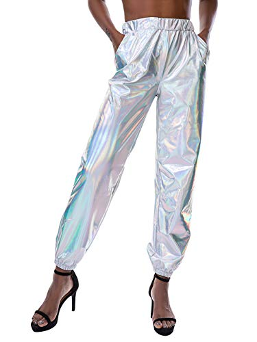 SIAEAMRG Womens Shiny Metallic High Waist Stretchy Jogger Pants, Wet Look Hip Hop Club Wear Holographic Trousers Sweatpant (Silver, S)