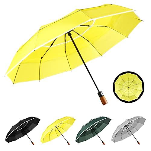 YumSur Paraguas Plegable - Abrir y Cerrar Automático, Paraguas de Viaje de Doble Cubierta a Prueba con asa resistente y funda de paraguas, Paraguas impermeable Para adultos, hombres y mujeres