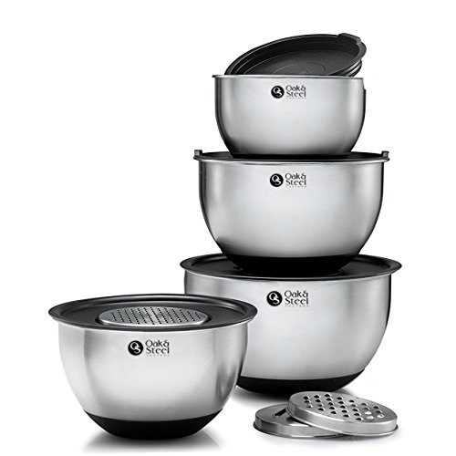 Oak & Steel - 11pc Stainless Steel Mixing Bowl Set with Lids & Graters