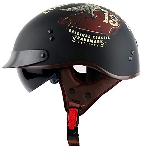 Casco De Moto Abierto, Unisex Personalidad Moda Cascos Para Moto Cascos Abiertos Visera Parasol Extraíble, Interiores Hipoalergénicos Y Transpirables DOT Homologado Black 1,XL