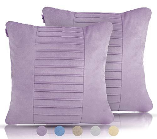 TAAGO Kissenbezug Set (2er) - Hochwertige Kissenhülle 45x45 mit Reißverschluss - Zierkissenbezüge aus Polyester - Pillow Cover - Weicher Kissen Bezug - Auch geeignet für Kissenbezug 50x50