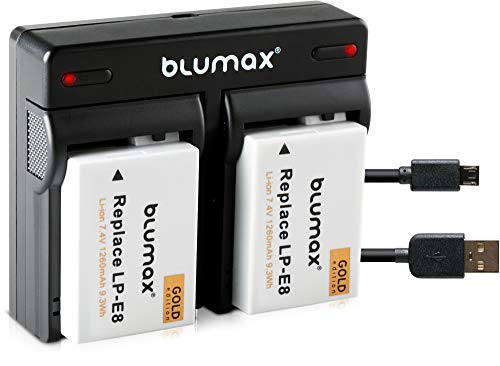 Blumax 2X Gold Edition Akku LP-E8 1260mAh + Mini Dual-Ladegerät USB | passend zu Canon EOS 550D 600D 650D 700D || 2 Akkus gleichzeitig Laden