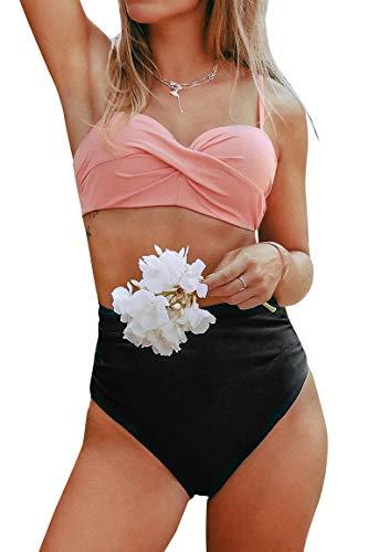 CUPSHE Damen Push Up Bikini Set Crossover Geteilter Badeanzug High Waist Bauchweg Bademode Zweiteilig Badeanzug Rosa/Schwarz XL