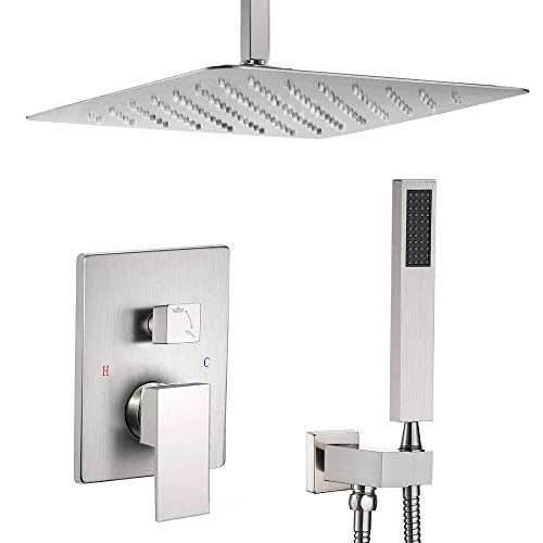 ESNBIA 12 Inch Ceiling Mount Brushed Nickel Shower...